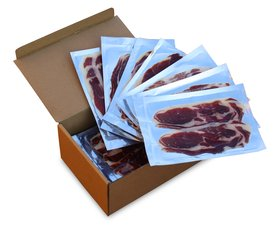 Cardboard box with the sliced ham packets